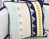 Aztec Gold & Mint Square Pillow