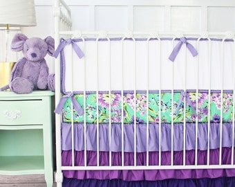 Purple Paige Floral Baby Bedding | Girl Crib Set in lavender, green, mint and lilac | Bright Floral Crib Bedding | Ruffled Crib Skirt Purple