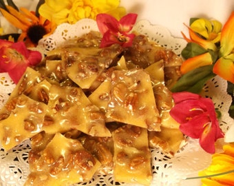 Pecan Brittle- 8 oz, Half Pound, Buttery, Crunchy, Fresh Pecans, Pecan Halves, Old Fashioned, Hand Poured, Homemade Candy, Homemade Brittle