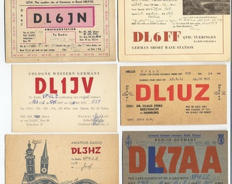 1950s German QSL Cards - Lot of 6