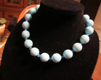 Ice blue glass bead necklace