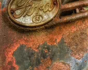 Ford Car Grate, Peeling Paint, Rust, Vintage, Car Art