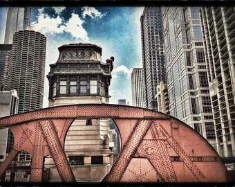 Chicago Cityscape, Chicago River, Bridge Support, Illinois