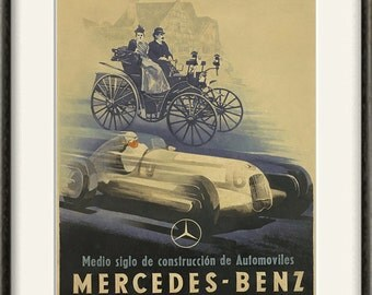 Mercedes Car print Antique prints car art home decor wall old prints Car wall decor old car art Wall poster art retro prints ad prints 12x16