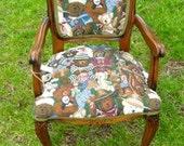 SALE - Antique Child's Victorian Chair w/ Teddy Bear Fabric Kids Playroom Chair