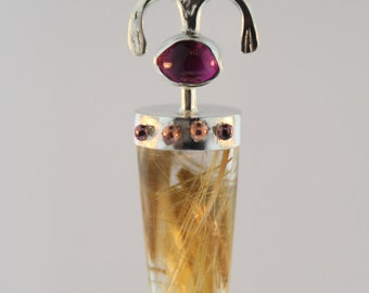 Sterling silver pendant with oval pink tourmaline and rutilated quartz bullet