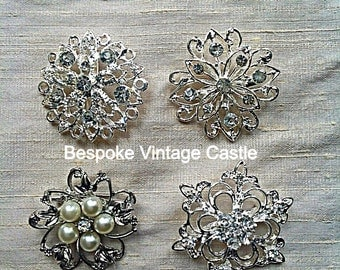 Crystal brooch, brooch, brooches, brooches for crafts, Silver Crystal brooch, brooches for brooch bouquet