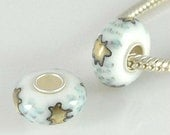 STAR Murano Lampwork Glass European Bead Charm .925 Sterling Silver