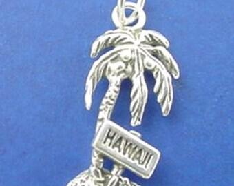 HAWAII PALM TREE Charm, Hawaiian Vacation .925 Sterling Silver Charm