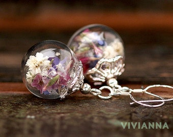 925 silver earrings with real flowers - e259