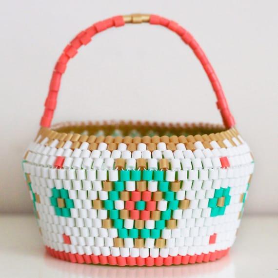 Handmade Beaded Basket : Handmade swedish beaded basket scandinavian vintage folk