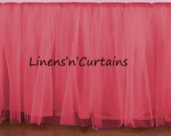 Day Bed Twin Size Tulle Pink Ruffled Bed Skirt Low