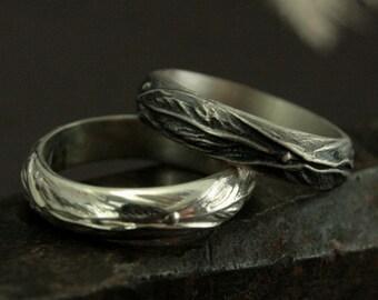 Elven Ring - Sterling Silver Leaf Design Ring - Fantasy Inspired Men's Ring - Woodland Ring - Men's Wedding Ring - Nature Inspired Jewelry