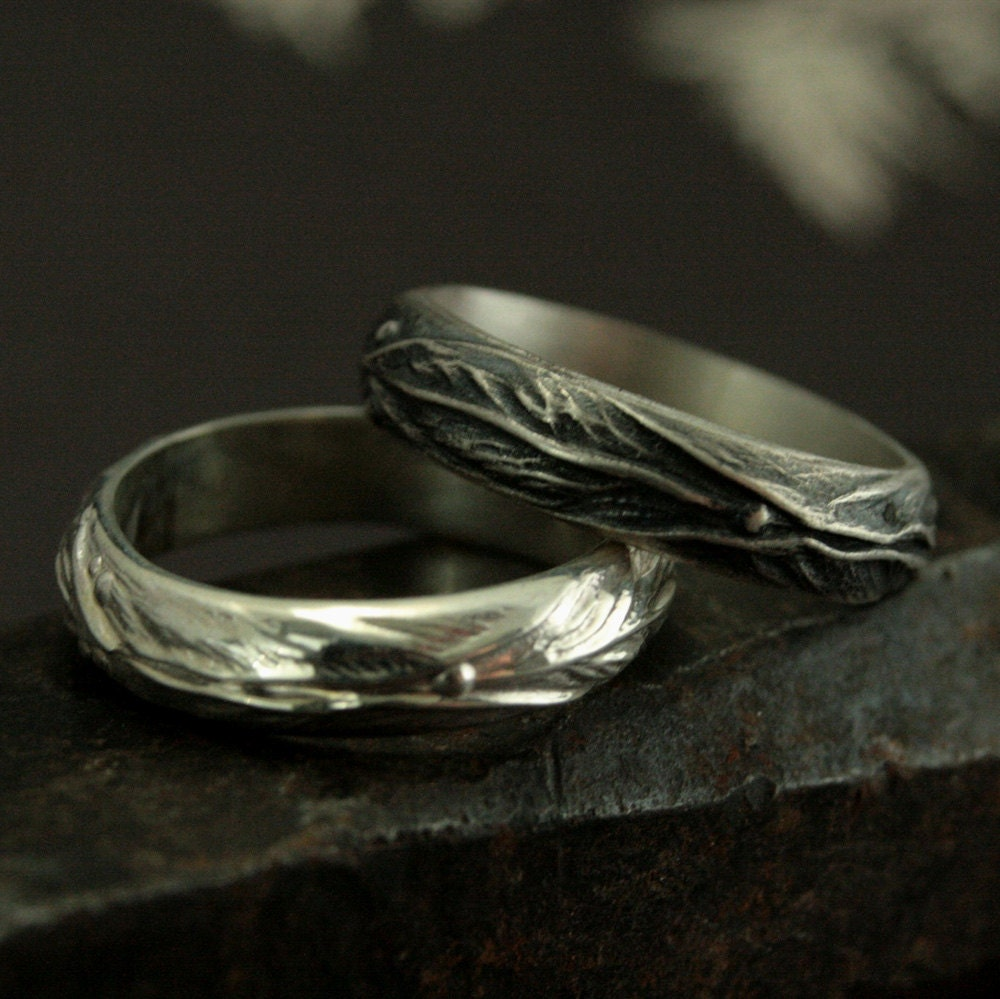 elven ring sterling silver leaf design ring fantasy inspired mens ring woodland ring - Nature Inspired Wedding Rings