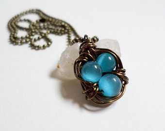 Deep Blue Wire Wrapped Bird's Nest Necklace