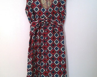 70s Red Canvas Print Dress (XS/S)