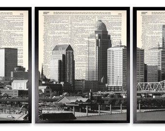 Louisville Skyline 3 Piece Upcycled Dictionary Art Print Repurposed Book Print On Recycled Antique Dictionary Page - Buy 2 Get 1 FREE