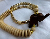 Boho Chunky Elephant Beaded  Statement Necklace -  Handcrafted Vintage 80s Safari Cream Wood & Gold Beaded Long Necklace