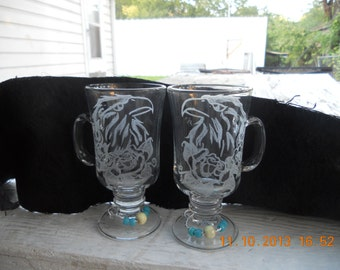 Eagle n Roses Etched Glass Set of 2