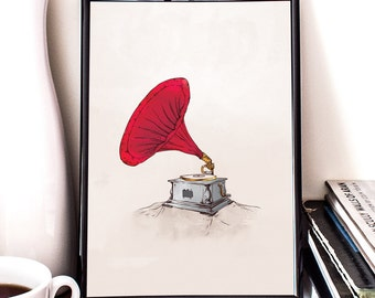 Phonograph, Printable Art, vintage gramophone, wall decor, illustration
