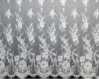 """59"""" eyelash rose  lace fabric  , Chantilly Eyelash ivory white Lace Fabric by yard   for Wedding Gowns, Bridal Veils"""