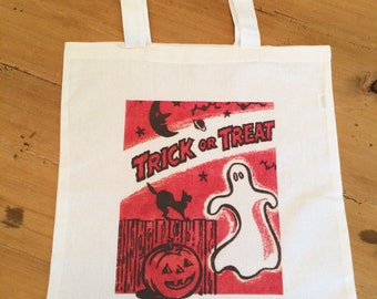1 Tote Bag - Trick or Treat Halloween Candy Bag - Trick or Treaters Halloween Night - Retro - Vintage - Ghost Bag 15x16