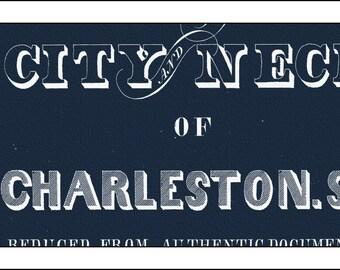 Charleston Map, Map of Charleston, South Carolina Map, Charleston Art, Charleston Print, Blueprint Map, Charleston Skyline