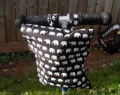 Child's black and white elephants bicycle bike scooter bag