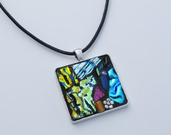 Dichroic Glass Mosaic Necklace with Flower