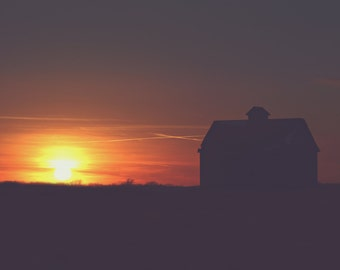 Silhouetted Barn Color Photo Print { orange, yellow, shadow, sunset, nighttime, dusk, sky, wall art, macro, nature & fine art photography }