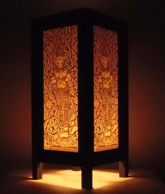 Thai handmade asian oriental angel paper lamp bedside table for Thailand home decor