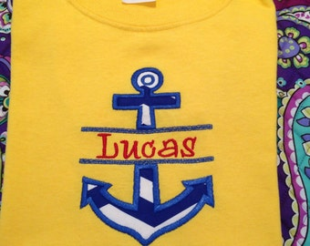 Personalized split anchor applique design download 4x4, 5x7, and 6x10
