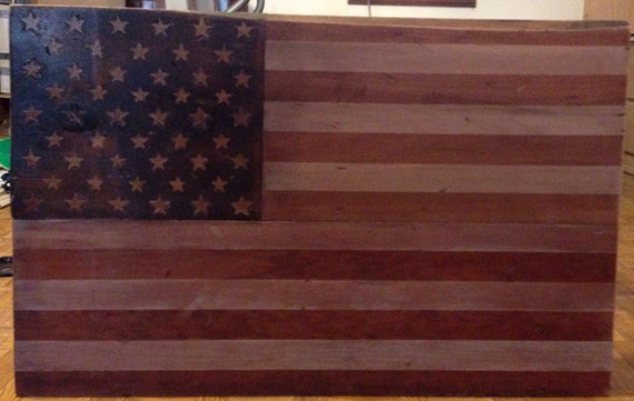 Rustic Patriotic American Flag Coffee Table Stained By Spune