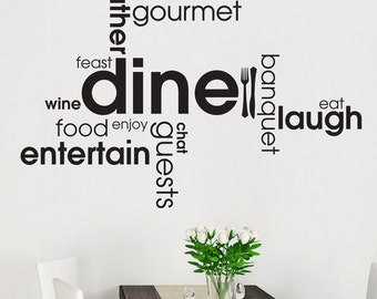Kitchen - Dining Wall Sticker Word Cloud Word Montage Art Decal Vinyl Transfer Words Decoration