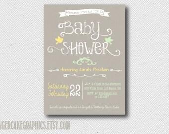 Gender Neutral Baby Shower Invitation - yellow - green - Invite - Printable