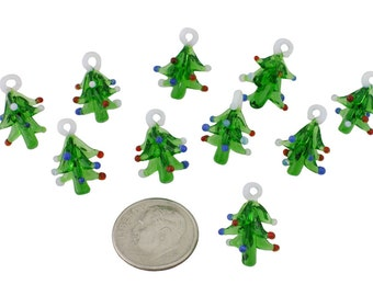 Hand Blown Glass Christmas Trees - Set of 12