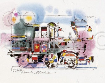 Locomotive Watercolor Print, Train Painting, Railroad Art Print, Old-Time Steam Engine, Reproduction of my Original Painting-RR-1-C