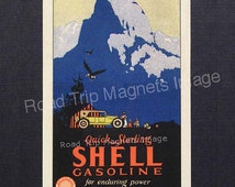 Shell Gasoline 1920s Travel Decal Magnet for SHELL GASOLINE and Yosemite's Half Dome. Reproduced & Hand Cut to Designer Specs. Very Graphic