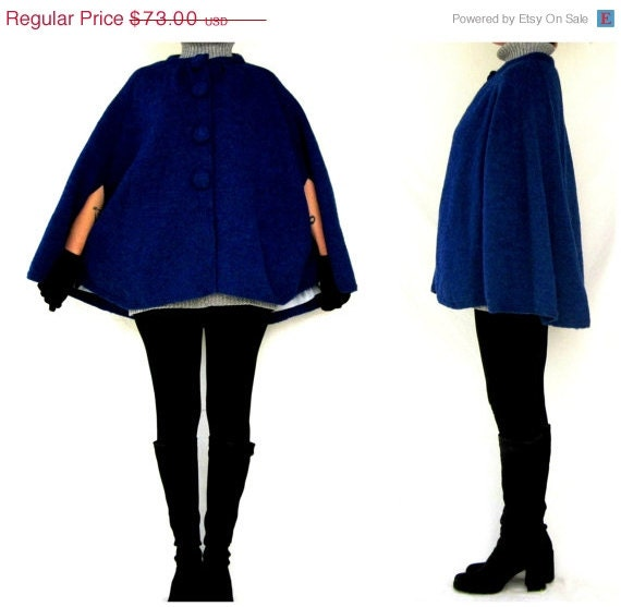 Black Friday Cyber Monday Mod Cape Coat / Knit Wool Poncho / Cobalt Blue / Classic 60s Retro Mad Men / Womens Size Small-Medium