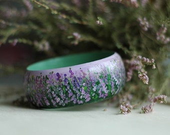 Hand-painted wooden bracelet with heather - not decoupage