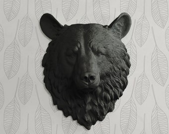 The Kodiak in Black - Faux Bear Head Mounted Fauxidermy - Fake Ceramic Animal Taxidermy Decorative Resin Plastic Mount Wall Decor Replica