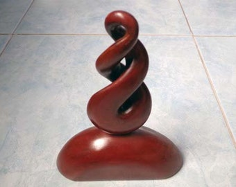 Wood double twist carving statue. W29