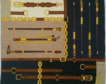 "Vintage Trussardi Silk Scarf Mini Cane / Accessories Pattern  23"" X 23"""