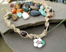 SaLe Hemp Chocker Necklace with flower shell and glass beads ~ beach chocker necklace