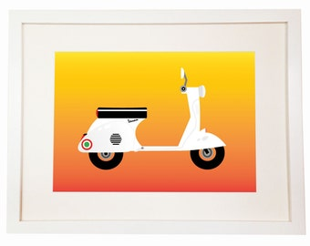 Vespa Piaggio motocicletta Italia - You Can Includes White Wood Frame - dammi una Vespa e ti porto in vacanza! Italy scooter bike