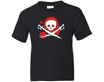 Kids Pirate Shirt - Splat Skull and Swords