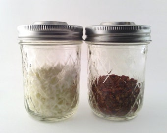 Mason Jar Parmesan Cheese and Crushed Red Pepper Shakers