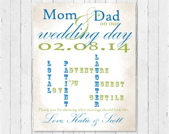 Great Wedding Gift Ideas For Parents : Parent Wedding PrintWedding Parent GiftAnniversary GiftParent ...