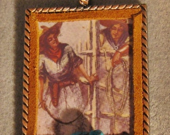 Altered Art Western Christmas Ornament Cowgirl Cowboy Lasso Large Turquoise Nugget