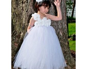 White Flower Girl/ Flower girl pixie tutu dress/ Flower girl dress/ Junior bridesmaids dress/ Rhinestone tulle dress